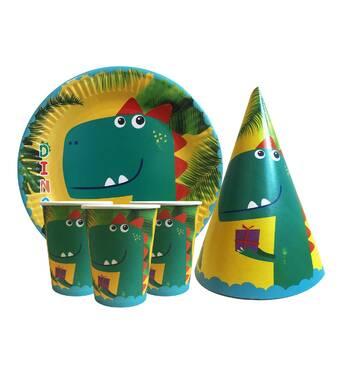 """Набір для дитячого дня народження """" Динозавр """" Тарілки - 10 шт Скляночки - 10 шт Ковпачки - 10 шт"""