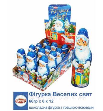 *NEW_YEAR 2019 Aras Шоколадна фігурка Дід Мороз! Веселих Свят! 60г*12