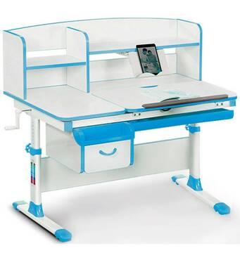 Парта письменный стол Evo-kids EVO-50 Blue с ящиком и полками