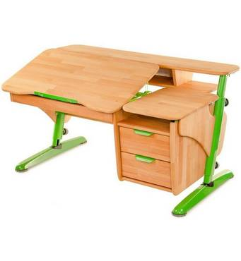 Письмовий парта стіл з полицями Ергономічний (дерево)