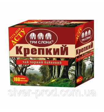"""Чай """"ТРИ СЛОНА"""" Чорний Міцний ДСТУ 100пх1,5г б/я (1/6)"""