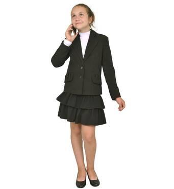 """Пиджак школьный для девочки м-870 рост 116 128 146 158 и 164 черный тм """"Попелюшка"""" 158"""