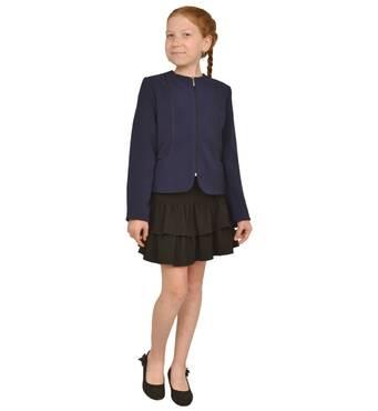"""Пиджак школьный для девочки м-449  рост 116 122 и 140 синий тм """"Попелюшка"""" 122"""