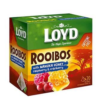 Чай в пирамидках LOYD  ROOIBOS с клюквой, малиной и медом Манука,1,7г*20шт