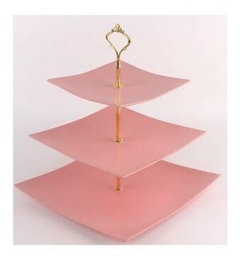 """Фруктовница Stenson  """"Pink silk"""" 6""""/8""""/10""""3 яруса MC3686 (36-939)"""