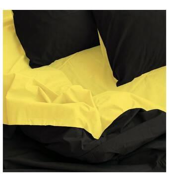 """Двоспальне євро постільна білизна бязь голд"""" однотонний чорний жовтий"""""""
