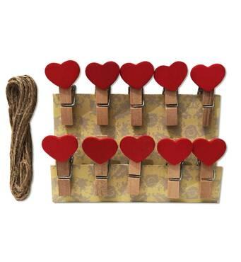 """Мини прищепки для декора """"Красные сердца"""" 3.5 см  (10 штук)"""