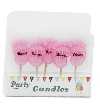 """Свечи для торта """"Пяточки розовые"""", 5 штук"""