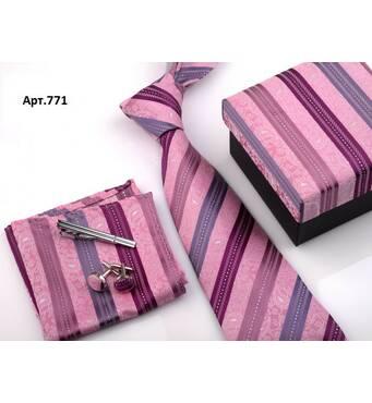 STK Подарунковий рожевий набір: краватка, запонки, хустка, затиск