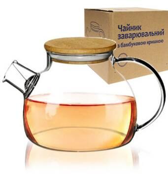 Чайник  заварочный  стеклянный СНТИ с бамбуковой  крышшкой  1 л 32235(61-85)