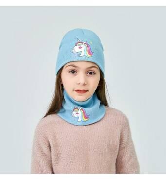 STK Шапочка Одноріг і шалик-пов'язка для дівчинки блакитної