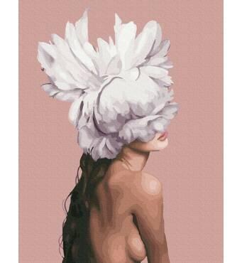 STK Картина по номерах. Дівчина-піон Емі Джадд, 40*50 см, Brushme, Преміум, кольорове полотно, лак  в комплекті в коробці лак