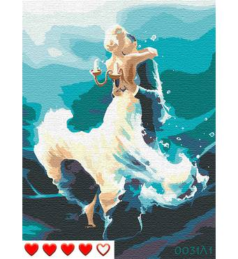STK Картина по номерам Пара в танце, цветной холст, 40*50 см, без коробки, ТМ Barvi+ ЛАК