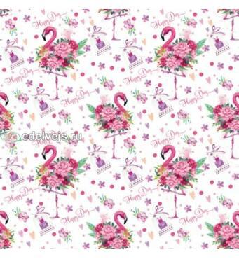 """Подарунковий папір для упаковки  """"Рожевий фламінго"""", 5 шт/уп"""