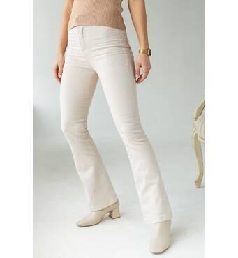 PERRY Женские джинсы клеш с высокой посадкой - бежевый цвет, M