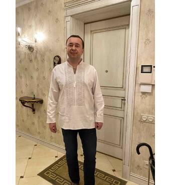 полтавская вышиванка белым по белому мужская. ручная работа.