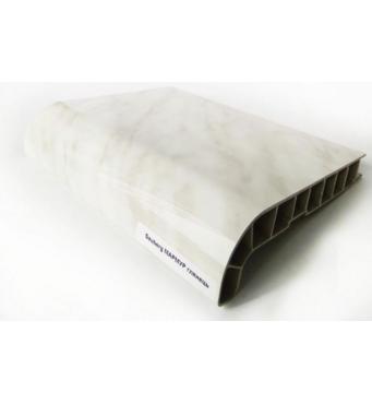 Підвіконня ПВХ  Sauberg  600х1000 ламінація  глянець білий мармур