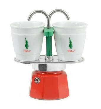 Подарунковий набір Bialetti Set Italy : гейзерна кавоварка Mini Express (2 cup)    2 кавових скляночки