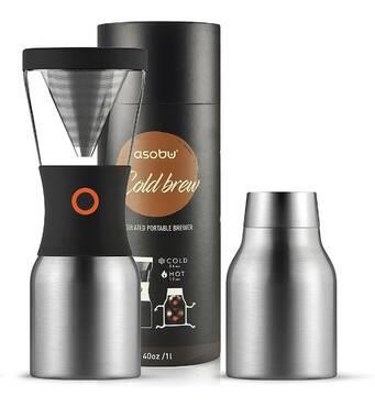 Набор Asobu Cold Brew | для заваривания  холодного кофе | 1 л | с термосом Серый