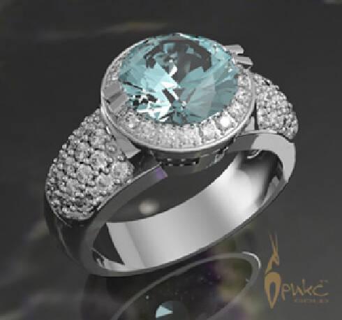 Кольцо из белого золота с голубым топазом и бриллиантами - Фото ... 48a0a99f87dad