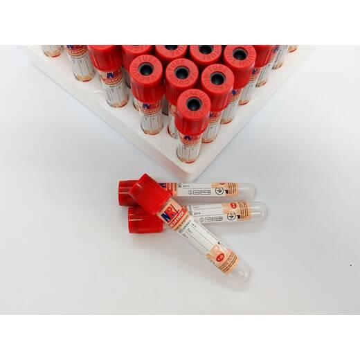 Пробірка вакуумна для забору крові «MEDRYNOK», 4 мл,13х75 мм, з активатором згортання, з червоною кришкою
