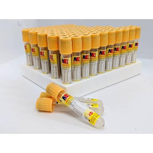 Пробірка вакуумна для забору крові «MEDRYNOK», 3,5 мл, з активатором згортання і розділюючим гелем 13х75 мм, жовта кришка