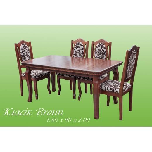 Стіл + стільці Класик Broun (фото)
