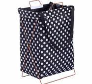 Кошик-сумка для білизни іграшок чорна Білий горох