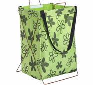 Кошик-сумка для білизни іграшок зелена Намальовані квіти