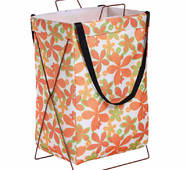 Кошик-сумка для білизни іграшок біла Помаранчеві квіти