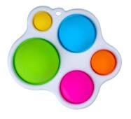 Simple Dimple Антистресс Игрушка Симпл Дмимпл - (Pop It - Поп Ит - Попит - Popit) - Белый Брелок Фигурный с карабином - 5 пупырок
