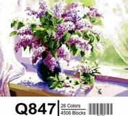 """Q847 """"Бузок на вікні"""" Розпис по номерах на полотні 40х50см"""
