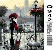 """Q942 """"Поцілунок під дощем"""" Розпис по номерах на полотні 40х50см"""