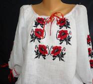 вишиванка жіноча біла  з  маками