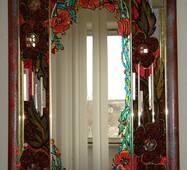 Зеркало обработаное янтарем