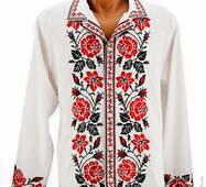 Необычная мужская вышиванка с ярким узором «Розы»