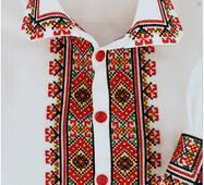 Яркая вышитая рубашка для мальчика з цветастым гуцульским орнаментом