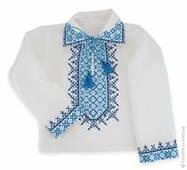 Синяя детская вышиваночка со старинным узором