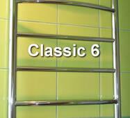 Низкий полотенцесушитель лесенка Classic 6/500 мм из н/ж стали. Круглая дугообразная перемычка. Электро