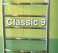 Узкий классический полотенцесушитель лесенка Classic 9/ 950х400 из н/ж стали с круглой дугообразной перемычкой