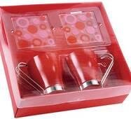 Червоні чашки з металевої ручкою арт. PGO827301