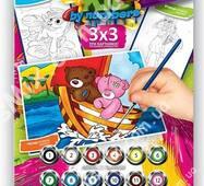 """Раскраски по номерам Kid 3 в 1 """"Мишки на лодке"""""""