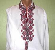 стильная мужская вышиванка с откладным воротником