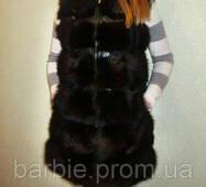 Модный  меховой жилет из тонированной лисы 0026