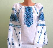 жіноча вишита сорочка з голубим орнаментом