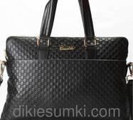 Мужская сумка портфель GUCCI кожаная черного цвета