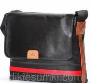 Мужская сумка портфель Gucci черная с красной полосой