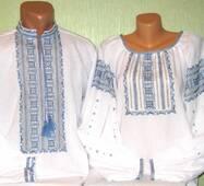 Парные вышиванки с голубой вышивкой