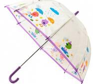 Детский прозрачный зонт Zest Птички ( механика ) арт. 51510-17