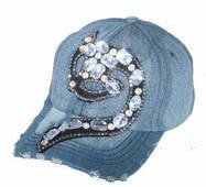 Жіноча джинсова кепка з камінчиками